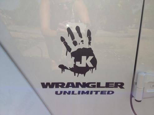 2 Wrangler Unlimited ZOMBIE JK Hand Team Vinyl Sticker Decal