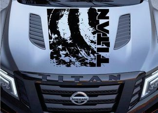 Distressed American Flag Nissan Titan Logo Hood Truck Vinyl Decal Graphic Pickup