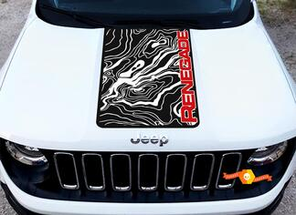 2 Color Hood Jeep Renegade Topographic Map Logo Graphic Vinyl Decal SUV Sticker