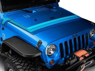 Retro Style Hood Stripes - Blue Fits 2007-2018 Jeep Wrangler JK Models
