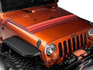 Retro Style Hood Stripes - Orange Fits 2007-2018 Jeep Wrangler JK Models
