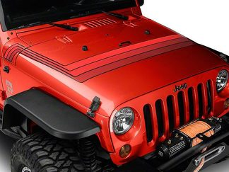 Retro Style Hood Stripes - Red Fits 2007-2018 Jeep Wrangler JK Models