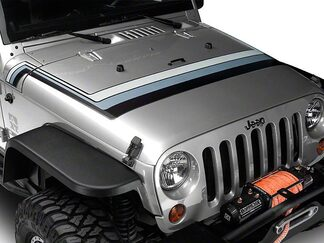 Retro Style Hood Stripes - Black & Gray Fits 2007-2018 Jeep Wrangler JK Models