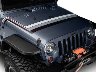 Retro Style Hood Stripes - Gray & Red Fits 2007-2018 Jeep Wrangler JK Models