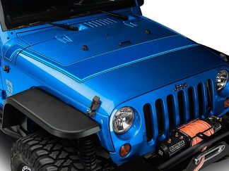 Retro Style Pinstriped Hood Stripes - Blue Fits 2007-2018 Jeep Wrangler JK Models