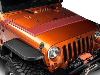 Retro Style Pinstriped Hood Stripes - Orange Fits 2007-2018 Jeep Wrangler JK Models