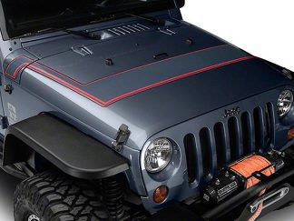 Retro Style Pinstriped Hood Stripes - Gray & Red Fits 2007-2018 Jeep Wrangler JK Models