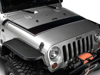 Retro Style Pinstriped Hood Stripes - Black & Gray Fits 2007-2018 Jeep Wrangler JK Models