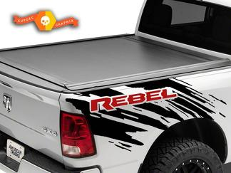 2 Color Dodge Ram Rebel Splash Grunge Logo Truck Vinyl Decal bed Graphic Cast