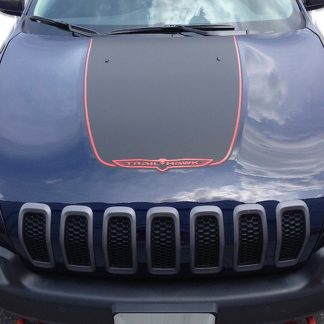 2014-2017 JEEP CHEROKEE TRAILHAWK BLACK SATIN VINYL HOOD DECAL STICKER GRAPHIC