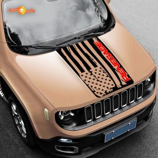 2 Color Hood Jeep Renegade Distressed American Flag Logo Graphic Vinyl Decal SUV