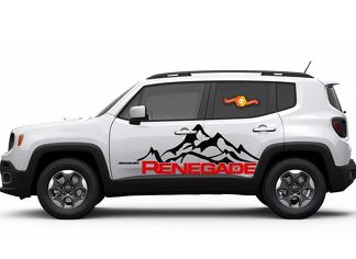 2 Color Jeep Renegade Mountain Logo Door Graphic Vinyl Decal Side SUV
