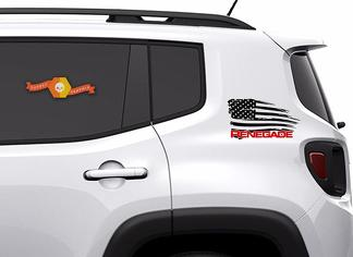 2 Color Jeep Renegade Distressed American Flag Graphic Vinyl Decal Sticker Side