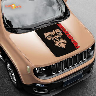 2 Color Hood Jeep Renegade Yeti Bigfoot Sasquatch Logo Graphic Vinyl Decal SUV