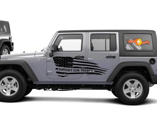 Support Our Troops Wavy Flag Graphic Decal Side body Fits Jeep Wrangler USA