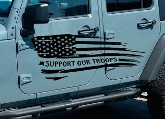 Support Our Troops Wavy Flag Graphic Decal Side body Fits Jeep Wrangler USA WF48