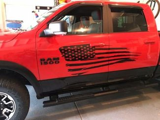 Distressed Flag Graphic Decal Side body Fits any Truck Dodge Ram American USA D1