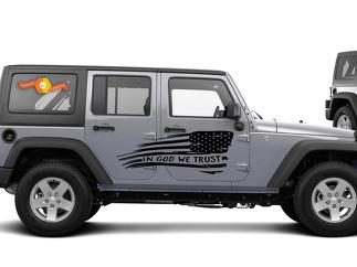 In GOD We Trust - Flag Graphic Decal Side body Fits Jeep Wrangler USA JKU