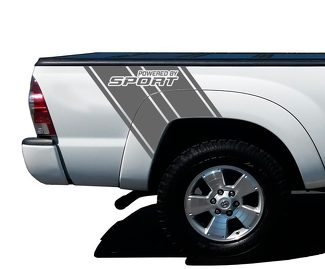 Powered by Sport Truck Bed Stripes Vinyl Graphic Decals - 4x4 Toyota Tacoma