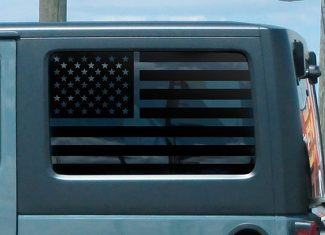 2x Jeep Hardtop Flag Decal Regular USA American Wrangler JKU Window