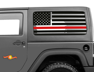 Red Line 2 Door Jeep Hardtop Flag Decal USA American Wrangler Fire fighter JK