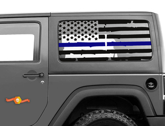 Distressed Blue Line 2 Door Jeep Hardtop Flag Decal USA American Wrangler JK