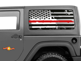 Fits JK Jeep Hardtop Flag Decal - Distressed Firefighter USA Wrangler Window