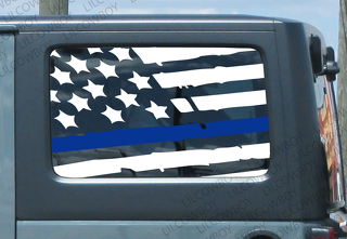 Distressed Blue line flag Side vinyl sticker decal Jeep Police lives matter