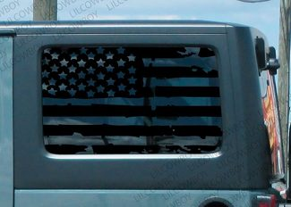 Distressed USA Flag For Window vinyl decal Jeep Wrangler JK 2 door