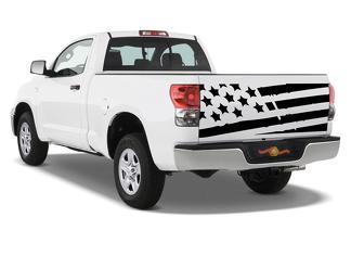 Distressed Tattered tailgate USA Flag Fit Tundra Die-cut Vinyl decal sticker