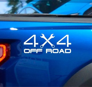 (2X) 4X4 Off Road Truck Bed Decal Vinyl Sticker Wrench Lifted Truck Coal Roller