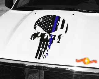 Punisher Skull Blue Line Flag Hood Decal 26