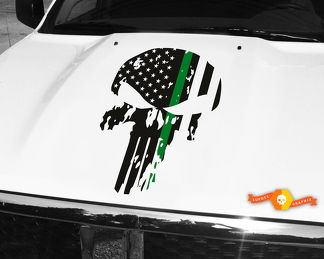 Punisher Skull Green Army Line Flag Hood Decal 26