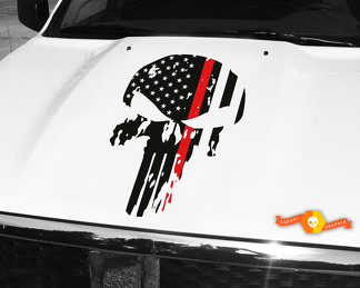Punisher Skull Red Line Flag Hood Decal 26