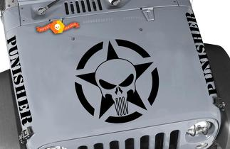 Jeep Wrangler Punisher Hood Set Vinyl Decal Stickers