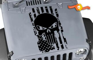 American Distressed Flag Punisher Skull Decal Jeep Wrangler USA Hood Decal