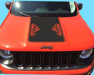 Jeep Renegade 2015, 2016 & 2017 Blackout Vinyl Hood Decal Mountains style