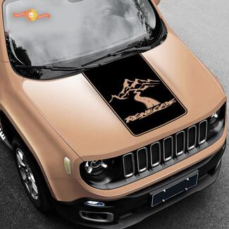 Jeep Renegade 2015, 2016 & 2017 Blackout Vinyl Hood Decal Mountains style 3