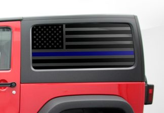 Blue Line 2 Door Jeep Hardtop Flag Decal Regular USA American Wrangler