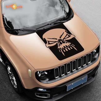 Jeep Renegade Hood Skull Grunge Graphics Vinyl Decal Sticker Side SUV