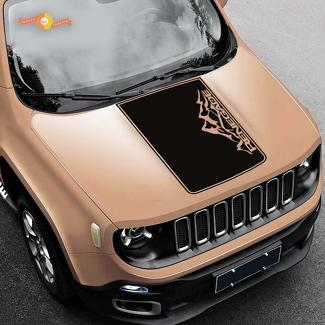 Jeep Renegade Mountain Hood Graphic Vinyl Decal Sticker Side Logo