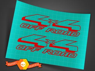 2 New Red 4X4 Off Road Decal Sticker 4WD Truck Ford Chevy Dodge Toyota GMC