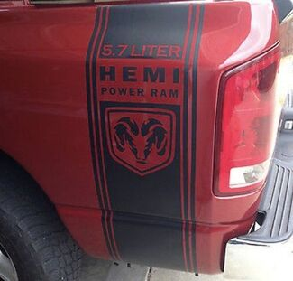 Truck vinyl decals racing Dodge Ram rear bed Hemi Mopar logo both sides 5.7 L
