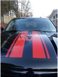 Truck vinyl decal, racing stripe sticker Dodge Ram hood logo mopar hemi Rebel RT