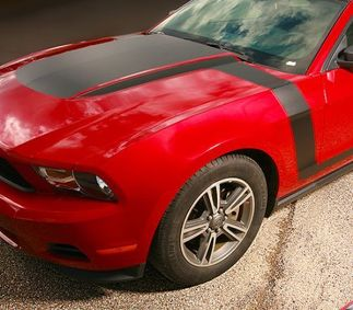 2010-2012 Ford Mustang Boss Style Hood Fender to Side Stripes Decals Any Colour