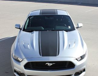 2015-2017 Ford Mustang MEDIAN Center Stripes Pony Style Hood Decals GT Any Colour Vinyl