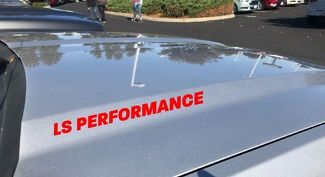 LS Performance Hood Decal Logo Chevy Cadillac Corvette Pontiac GTO Camaro Red