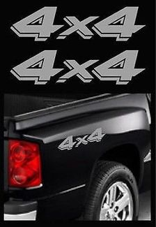 Dodge Truck 4x4 Off Road Ram Dakota Sport Silver Stickers Vinyl Decal x 2