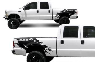 FORD F-250 (1999-2006) CUSTOM VINYL DECAL WRAP KIT - 250 TORN