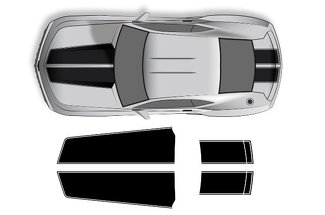 CHEVROLET CAMARO (2010-2015) CUSTOM VINYL DECAL WRAP KIT - STRAIGHT HOOD AND TRUNK STRIPES
